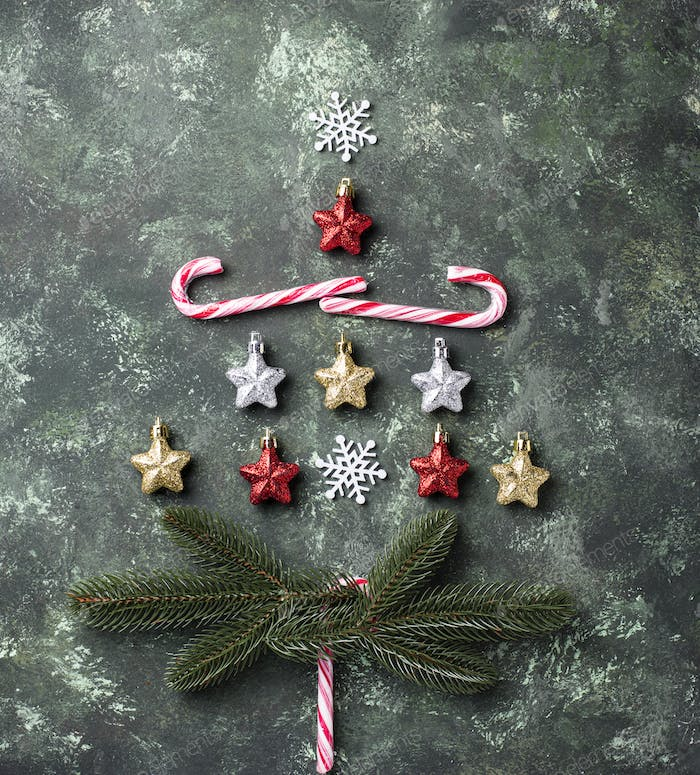 Creative Christmas tree made by stars