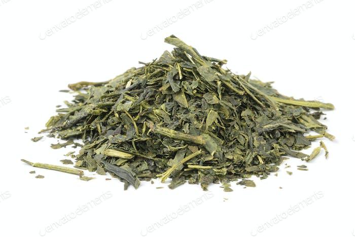 Heap of dried Japanese green tea