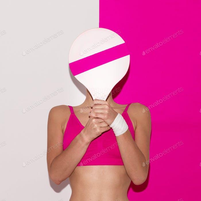 Fitness vibration. Beach badminton. Pop art style. Fashion girl