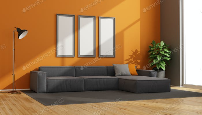 Gray and orange modern living room