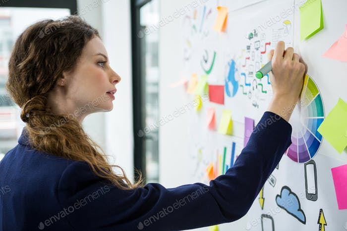 Beautiful woman writing on adhesive notes