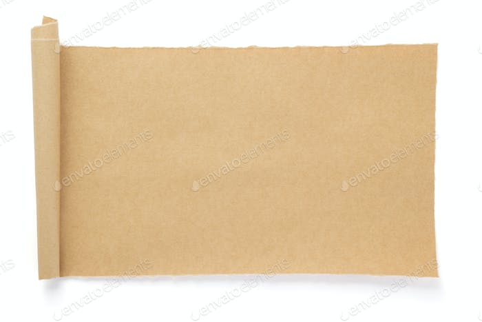 curved or scrolled paper isolated at whit