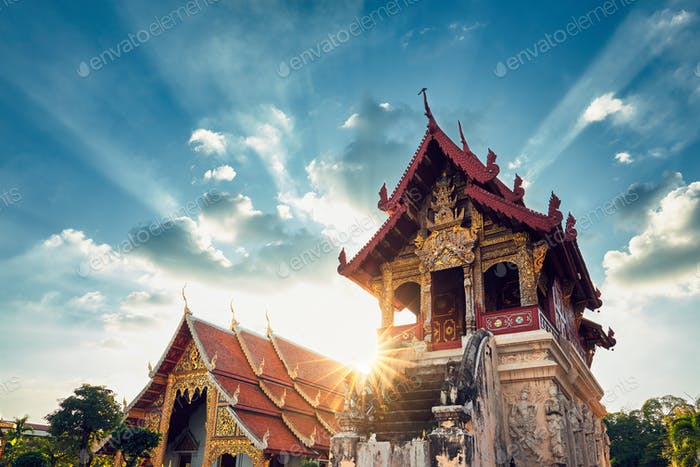 Buddhist temple at amazing sunset