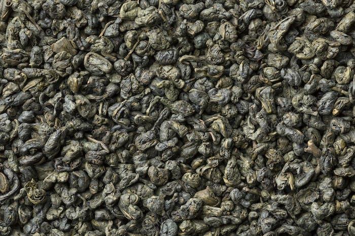 Heap of green gunpowder tea full frame