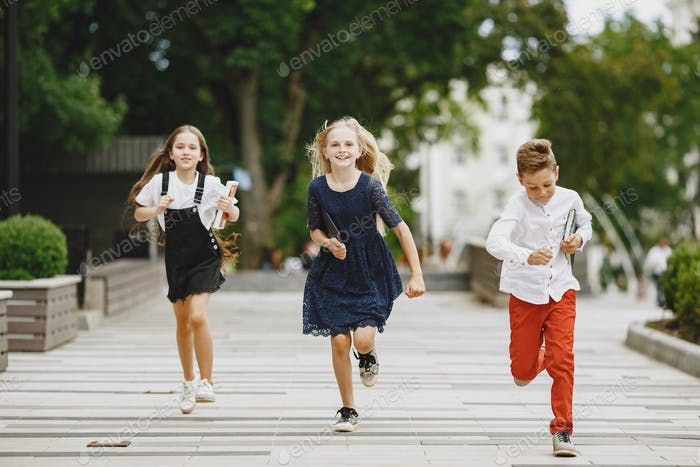 Happy children spend time together close and smile