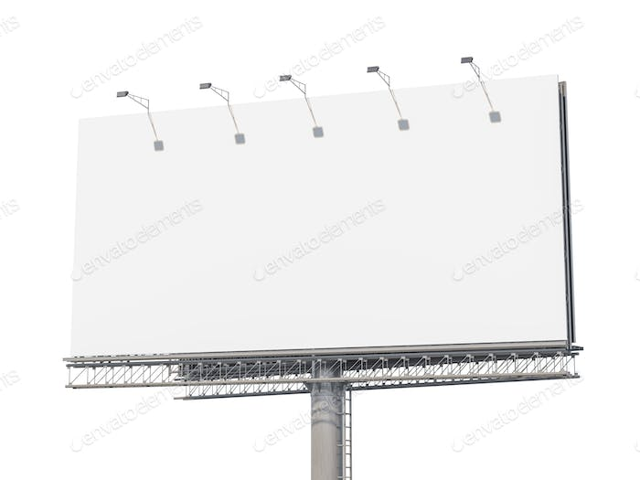 Empty billboard isolated on white background.