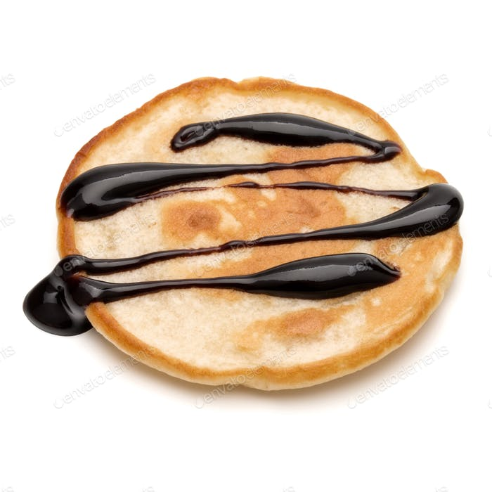 One pancake with chocolate syrup isolated on white background cutout.