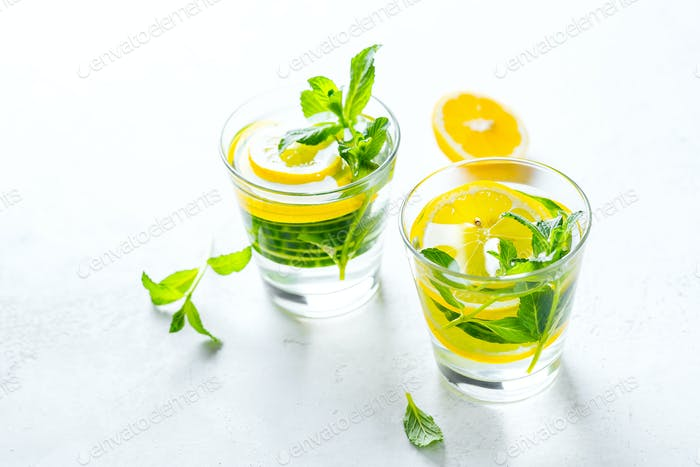 Infused healthy water drink in glasses