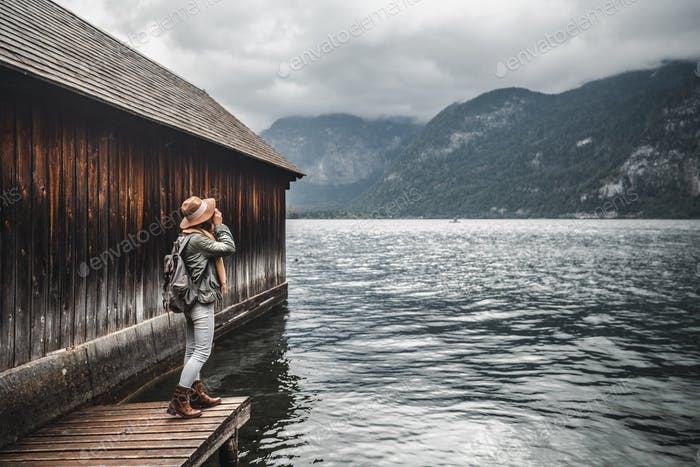 Young photographer at the lake
