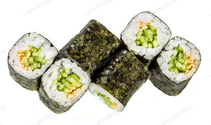 Sushi Roll (Kappa maki roll) on a white background