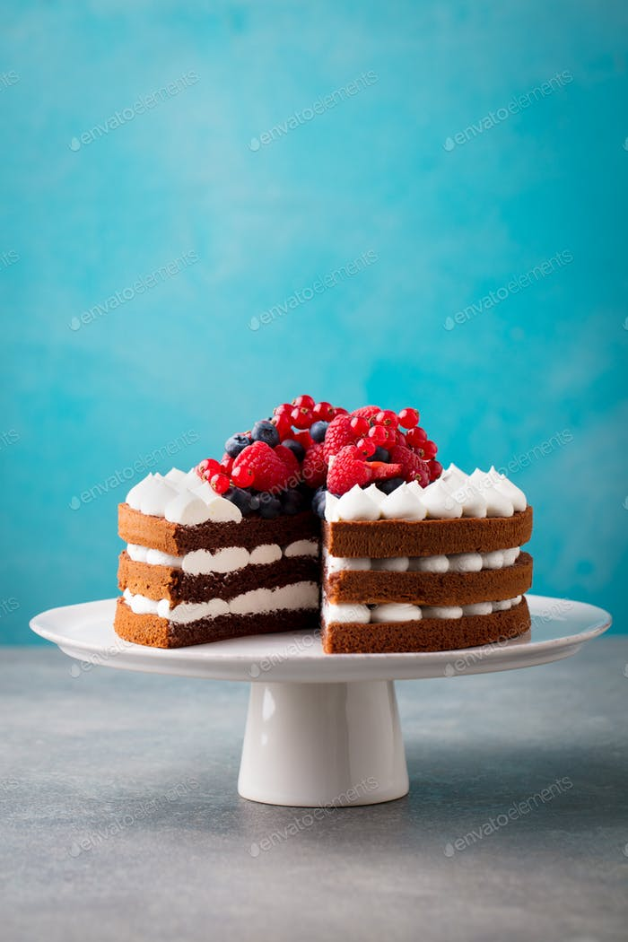 Chocolate Cake with Whipped Cream and Fresh Berries. Blue Background. Copy space.
