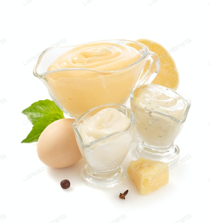 variety of mayonnaise sauce on white