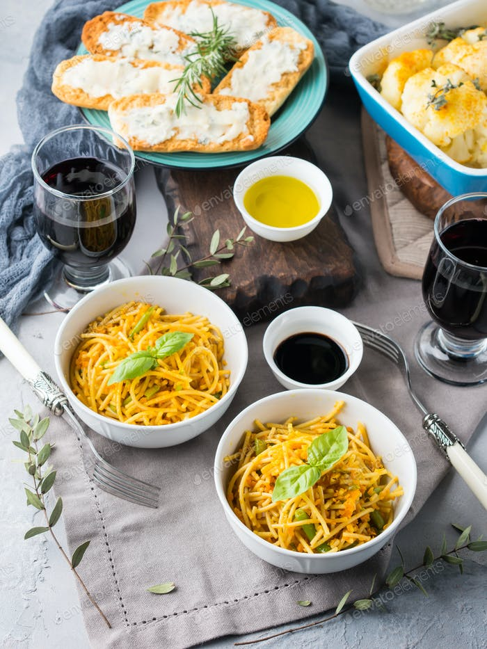 Lunch with pasta noodles and vegetables