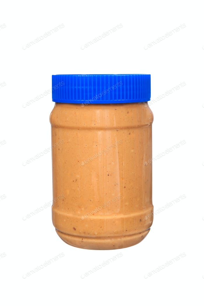 Jar of peanut butter on white