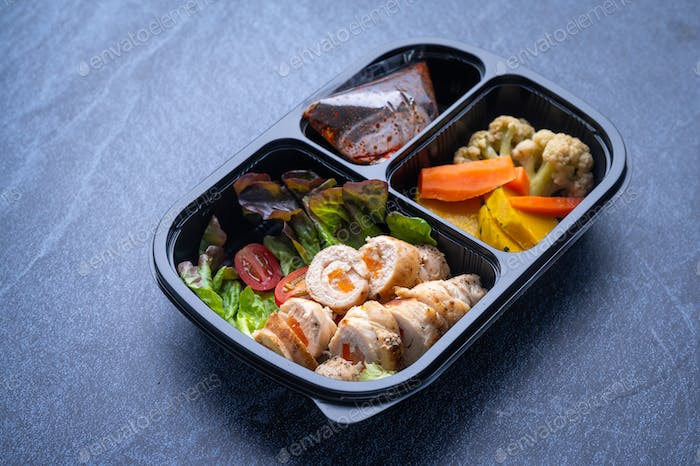 delivery lunchboxes food, flat lay. Healthy food delivery