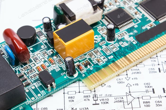Printed circuit board and diagram of electronics. Technology