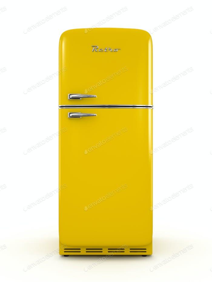 Retro Kühlschrank isoliert auf weißem Hintergrund 3D Rendering