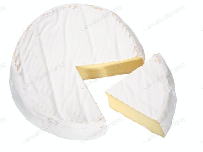 Camemebert cheese wheel, top, paths