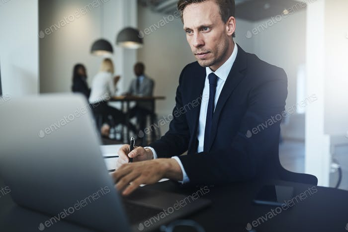 Businessman working on a laptop in his office