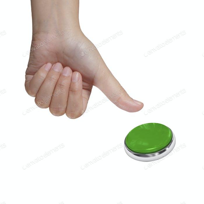 Pulsando Botón verde aislado sobre Fondo blanco