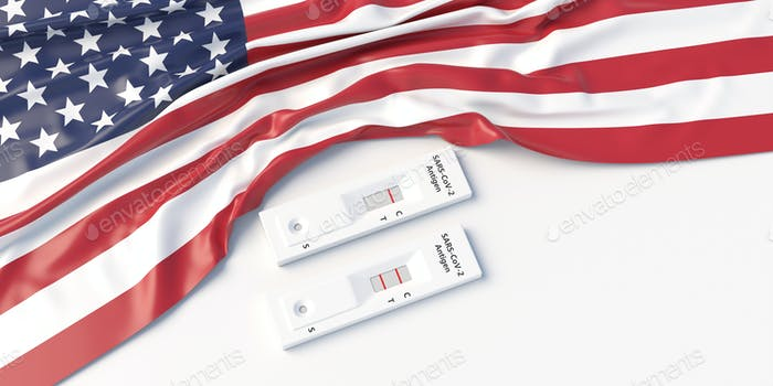 US Covid self testing, Coronavirus antigen rapid tests kits and United States of America flag.
