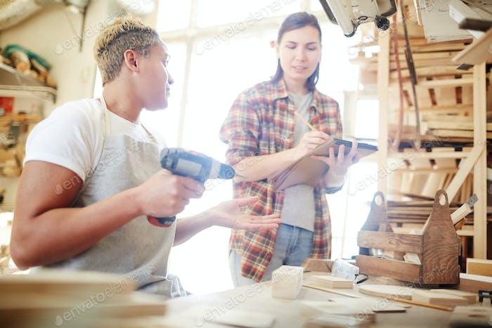 Women in carpentry workshop