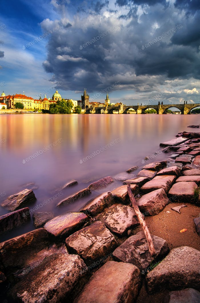 Summer near Charles Bridge in Prague, Czech republic