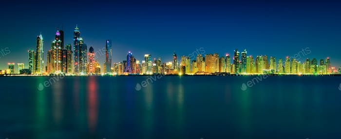 Amazing night skyline panorama of Dubai Marina skyscrapers. Dubai Marina. United Arab Emirates.
