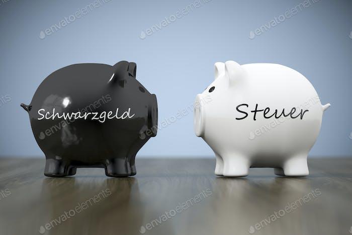 zwei Sparschwein mit den Worten schwarz Geld und Steuern in deutsch lan