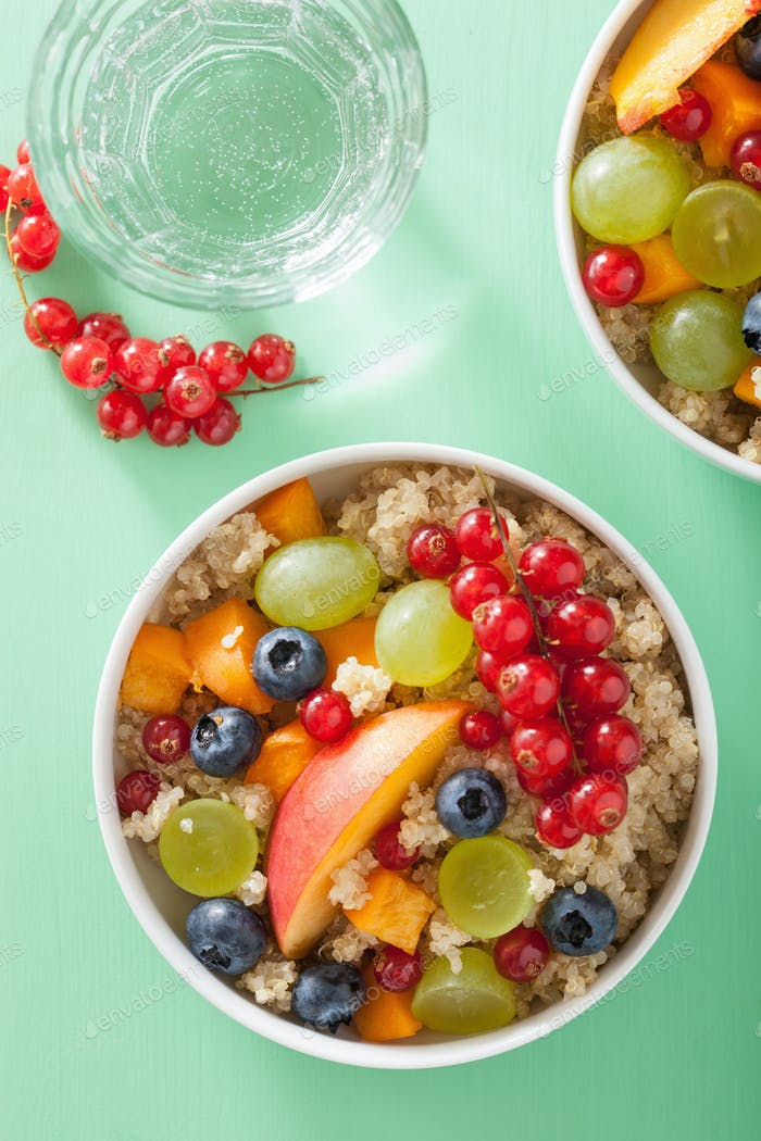 healthy breakfast quinoa with fruits berry nectarine blueberry g