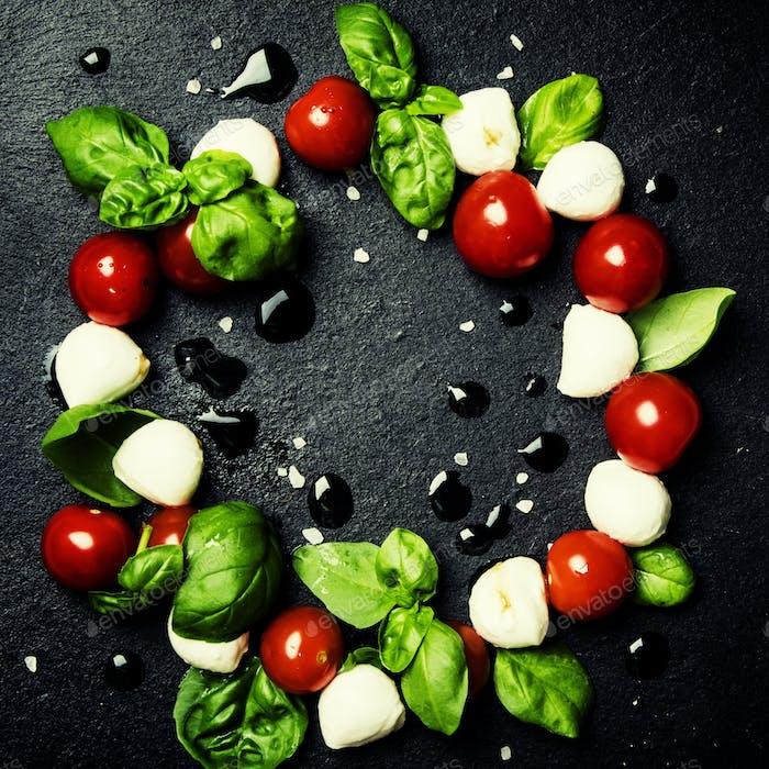 Caprese salad with mini mozzarella