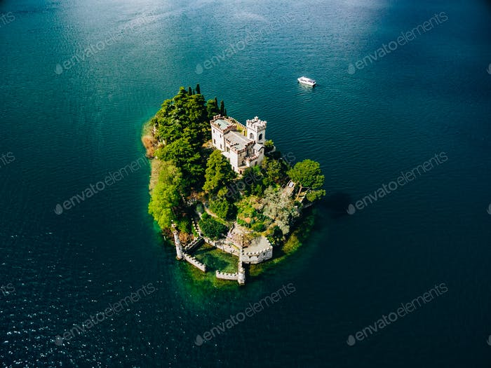 Aerial view of Loreto island, lake of Iseo in Italy.