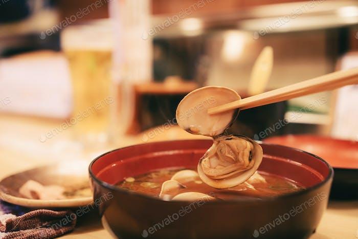 Shijimi clam miso soup in restaurant.