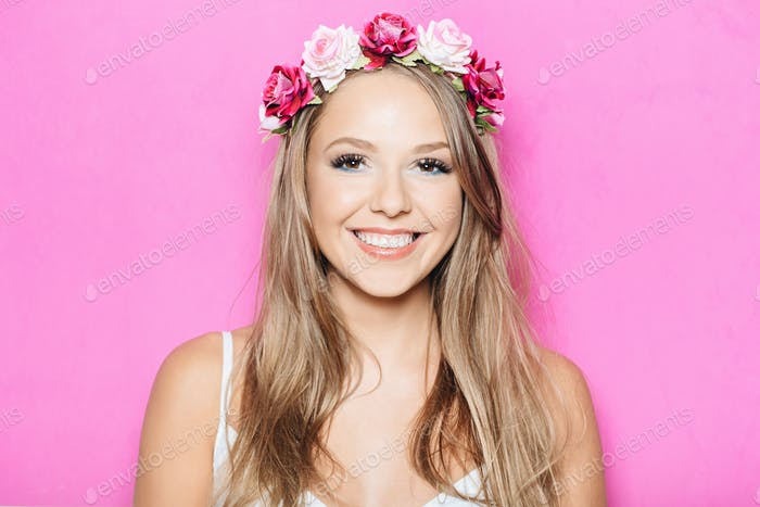 Funny pretty girl smiling with teeth