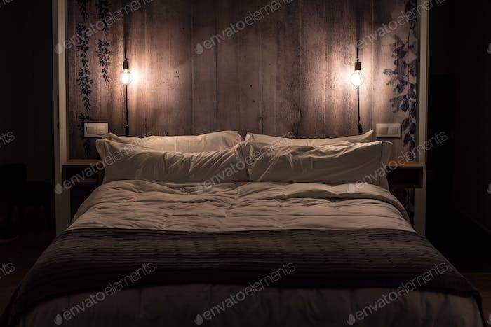 Modern bedroom interior design by night