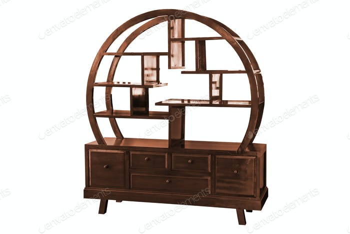 Wooden cabinet Chinese style isolated.