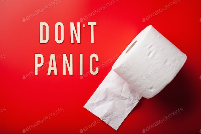 don't panic word toilet paper text wooden letter on red background coronavirus covid-19