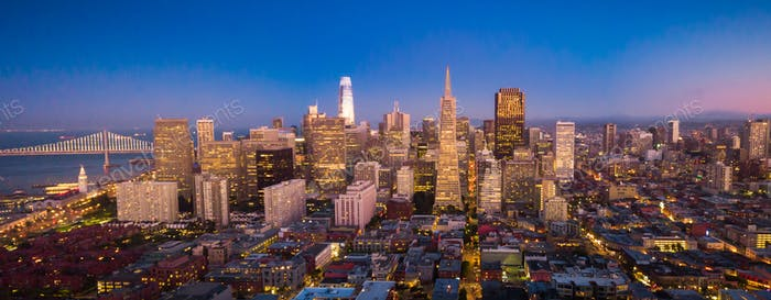 Aerial View of San Francisco Skyline at Dusk