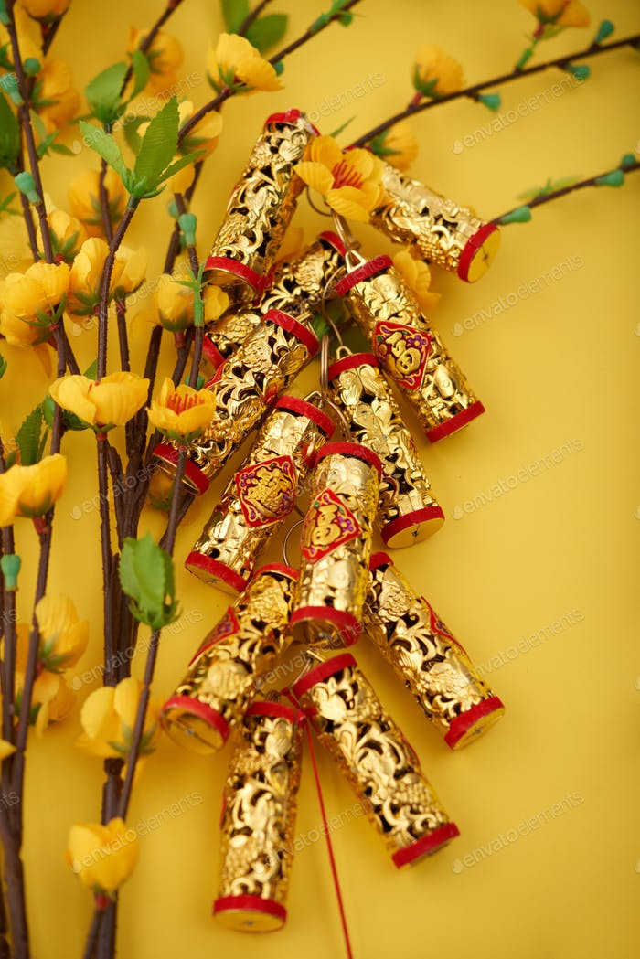 Golden firecrackers for Tet holiday