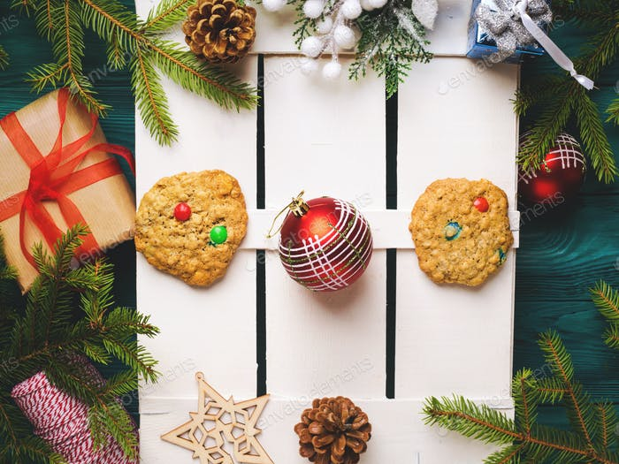 Christmas background with decorations frame