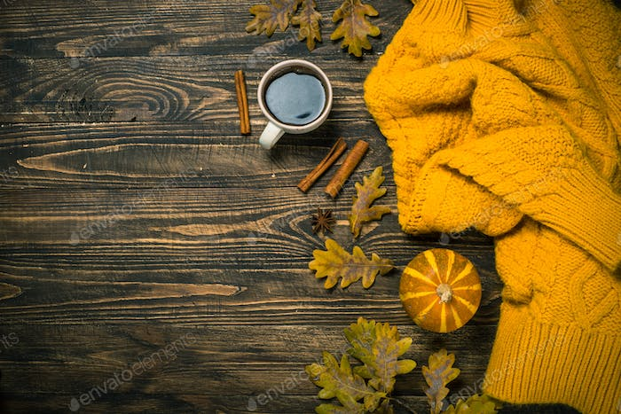 Autumn flat lay background on wooden table