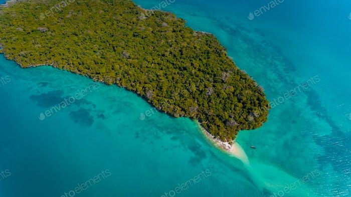 Luftaufnahme der Insel Miwi, Sansibar
