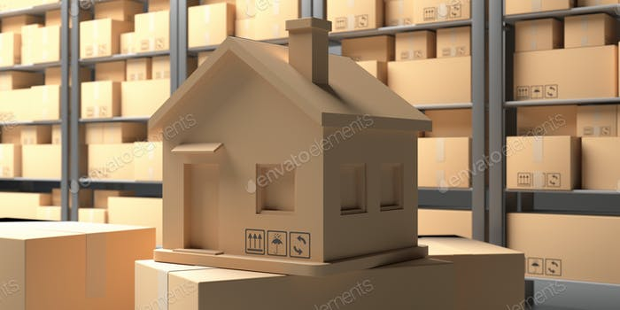 Cardboard box house shape against warehouse shelves background. 3d illustration