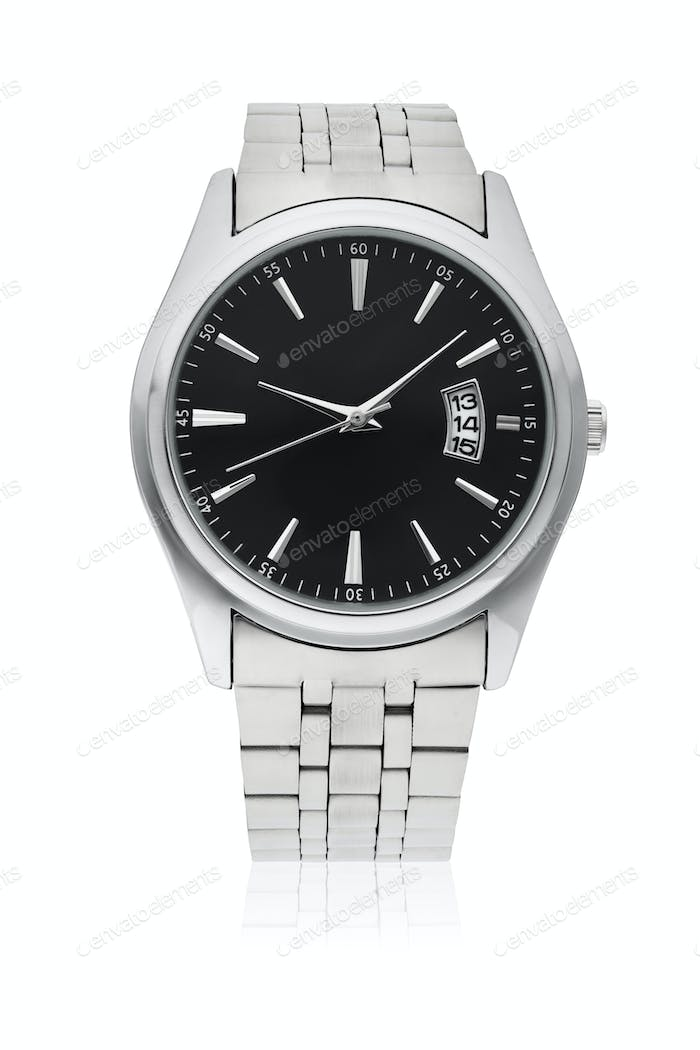 Men's wrist watch with stainless-steel strap isolated on white.