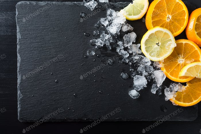 Slices of orange and lemon