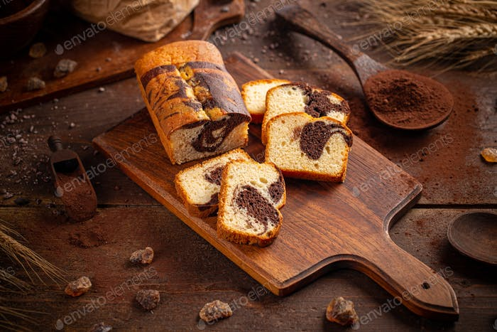 Bread loaf with cocoa