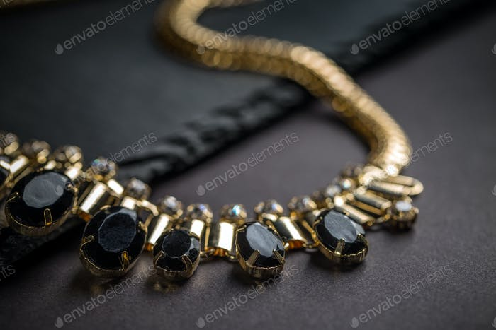 Necklace with black stones