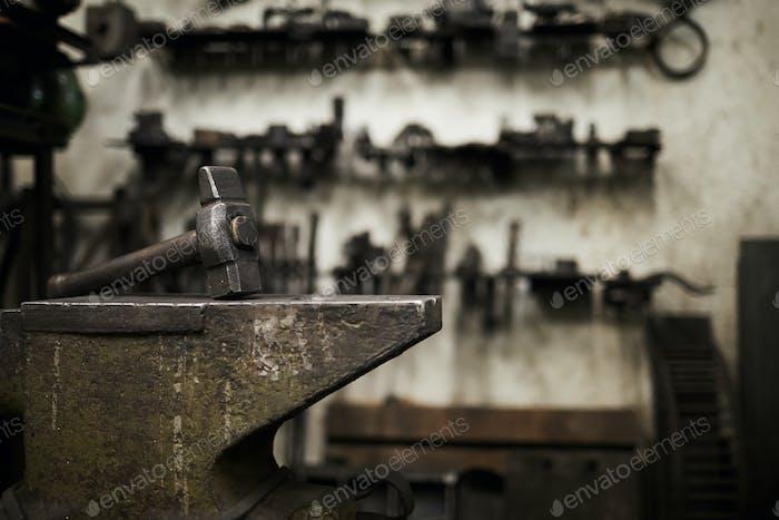 Hammer on anvil