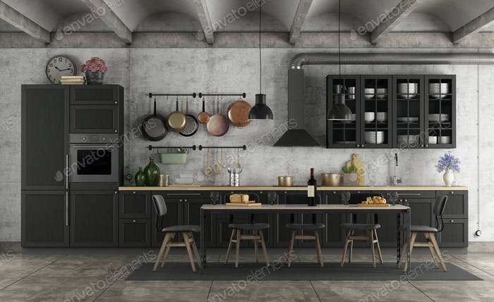 Retro black kitchen in a grunge interior