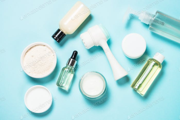 Skin care product on blue background